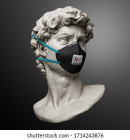 Funny illustration from 3d rendering of classical head sculpture with black face mask for virus protection. Isolated figure on background.