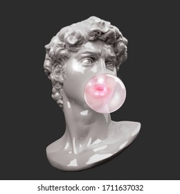 Funny illustration from 3d rendering of plastic classical head sculpture blowing a pale pink chewing gum bubble. Isolated on background.