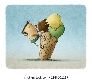 funny illustration of a man climbed on top of an ice cream and is licking it