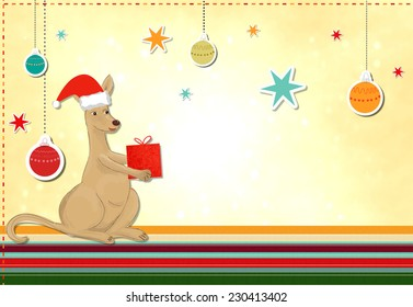 funny kangaroo celebrating christmas