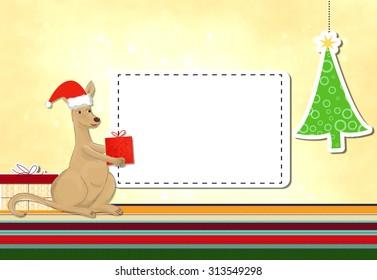 funny kangaroo celebrating christmas