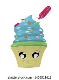 Funny Kawaii emoticon as a cupcake for the birthday. 3d rendering