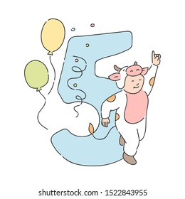 funny kid in cow fancy costume near five 5 holiday number with balloons and confetti. Children education, symbol for birthday party celebration design decoration