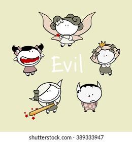 Funny kids #83 - evil creatures (raster version)