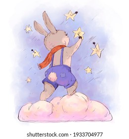 Funny kids illustration little rabbit pins stars. cartoon hand-drawn picture