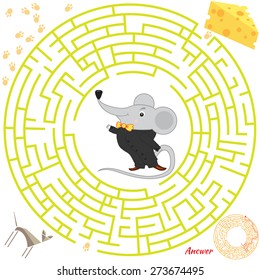 Funny labyrinth. Help the mouse find the cheese. Themed maze game.  cartoon mouse illustration. Isolated on white background. Answer included
