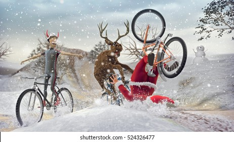 Funny Lame and Bad Santa Claus on bicycle with friends reindeer and devil krampus. Merry Christmas and Happy New Year! Saint Nicholas day. Mannequin Challenge. 3D rendering.