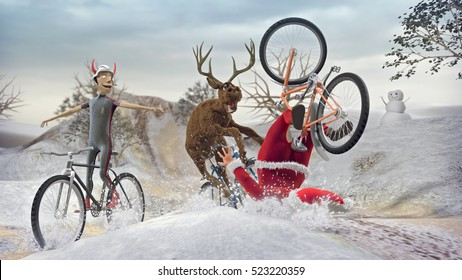 Funny Lame Santa Claus on bicycle with friends reindeer and devil krampus. Merry Christmas and Happy New Year! Saint Nicholas day. Mannequin Challenge. 3D rendering.