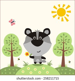 Funny little badger with flower in the forest