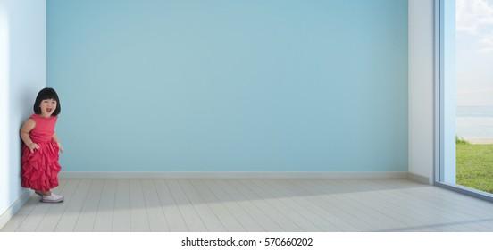 Funny little girl in empty kids room of beach house - 3d rendering