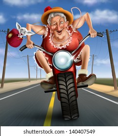 Funny mad granny on a bike