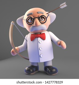 Funny mad scientist professor had an accident with his bow and arrow, 3d illustration render