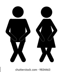 funny male and female bathroom sign