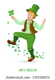 Funny man with shamrok in the arm. Green leprechaun from Ireland culture. Raster version.