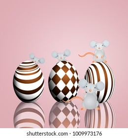 Funny mice with chocolate eggs