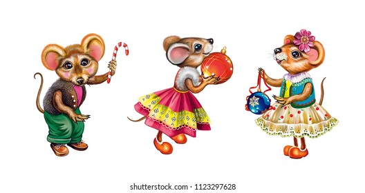 funny mice decorate the Christmas tree, cartoon animals with Christmas toys, mouses prepare for Christmas and New Year, holiday preparations, isolated characters on a white background
