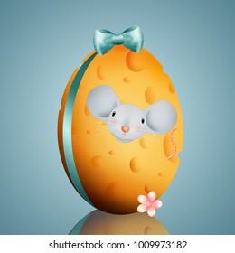 Funny mice in Easter egg