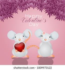 Funny mice in love in Valentine's Day