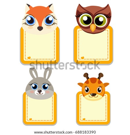 Funny Muzzle Animals Frames Your Text Stock Illustration 688183390 ...