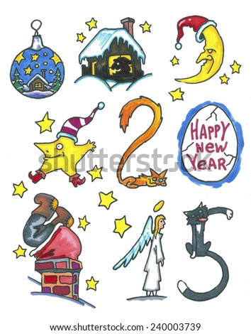 Funny New Year Set Cards Stock Illustration 240003739 - Shutterstock