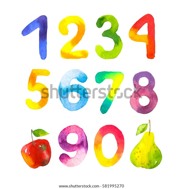 Funny numbers from 0 to 9. Hand drawn by children figures on white background. Watercolor style.