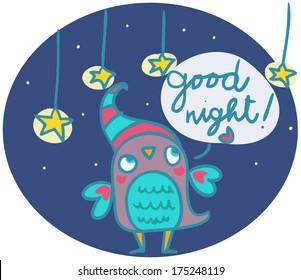 funny owl says good night