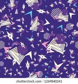 Funny pattern, memphis style. Geometric patterns. Spot, triangles, lines.