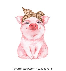 Funny pig wearing leopard bandana. Isolated on white. Cute watercolor illustration