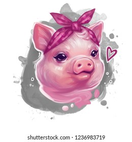Funny pig wearing pink bandana.Cute watercolor illustration.Cute animal