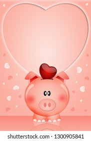 Funny piggy bank with heart