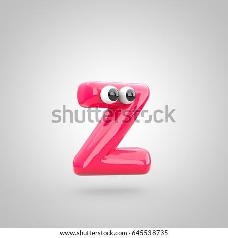 Funny Pink Letter Z Lowercase Eyes Stock Illustration 645538735