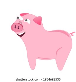 Funny pink pig smiling for you