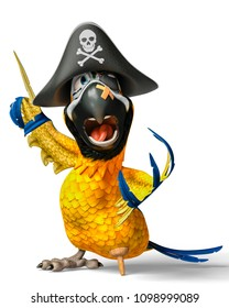 funny pirate parrot cartoon 3d illustration