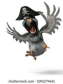 funny pirate parrot cartoon, the silver feather one 3d illustration
