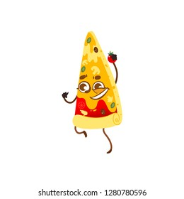 Funny pizza slice character with smiling human face holding tomato, cartoon illustration isolated on white background. Cartoon smiling pizza slice character, mascot with cute human face