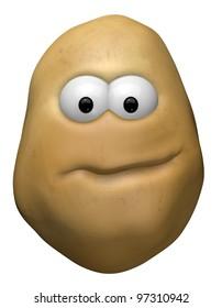 funny potato with cartoon face - 3d illustration