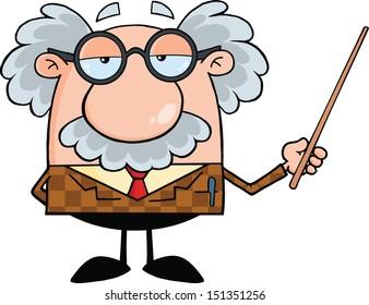 Funny Professor Holding A Pointer. Raster Illustration