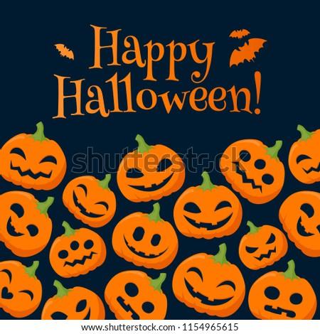 funny pumpkins halloween background greetings illustration stock