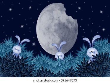 Funny rabbits eating moon