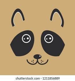 funny raccon face on brown background. illustration
