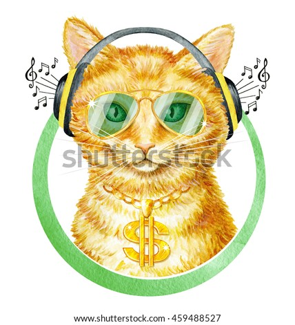 Funny Red Kitten Golden Dollar Sign Stockillustration 459488527