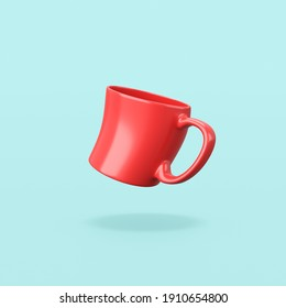 Funny Red Mug on Flat Blue Background with Shadow 3D Illustration