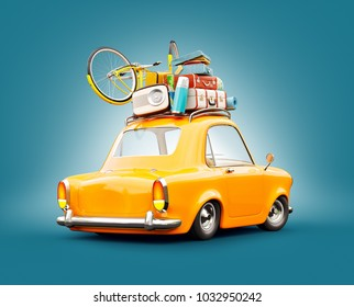 Funny retro car with laggage, suitcases and bicycle on the top. Unusual summer travel 3d illustration. Summer vacation concept