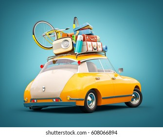 Funny retro car with laggage, suitcases and bicycle. Unusual summer travel 3d illustration. Summer vacation concept