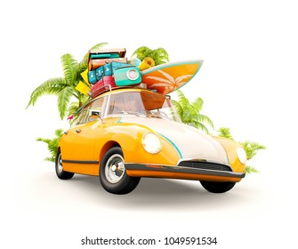 Funny retro car with surfboard, suitcases and palms. Unusual summer travel 3d illustration. Summer vacation concept isolated on white