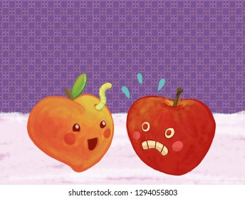A funny scene between fruits: a goofy peach and a scared apple