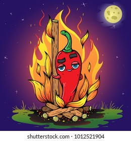 Funny sexy Jalapeno cartoon hot red chili pepper in night with moon! Cooking food on the bonfire and coals. Fire elements on blue background. Creative Image illustration art. Logo Icon.