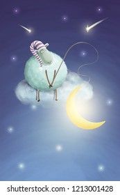 Funny sheep in hat on cloud coutched the moon. Let's dreams come true illustration