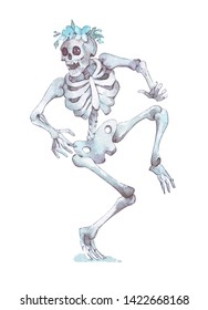 funny skeleton with flower wreath dancing watercolor illustration