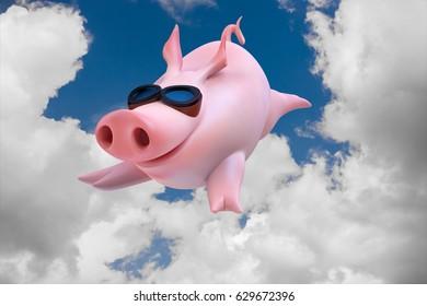 Funny sky diving flying piggies 3d illustration